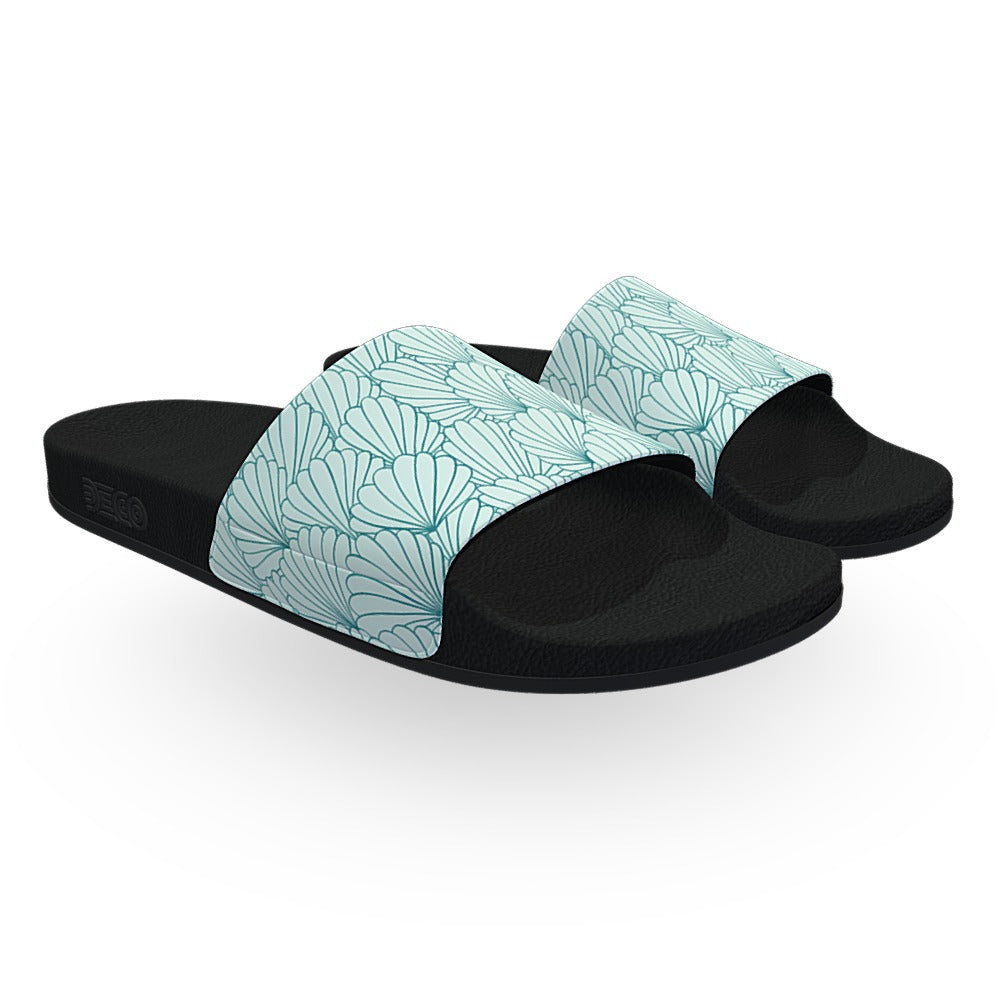 Elegant Cyan Shell Pattern Slide Sandals