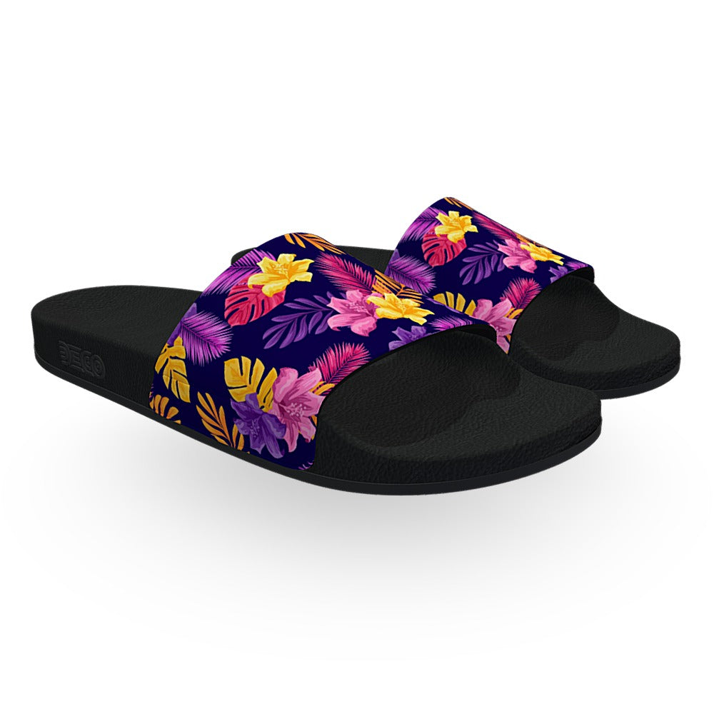 Purple Pink and Yellow Tropical Slide Sandals