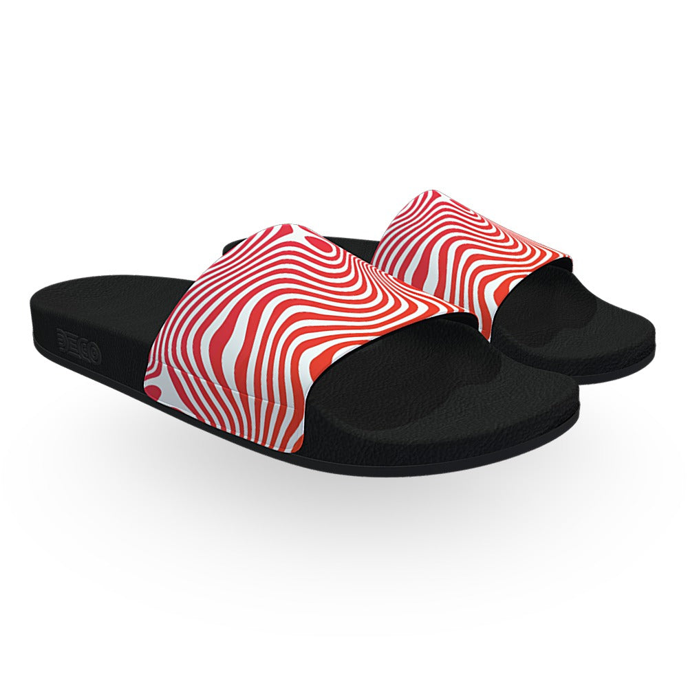 Orange Red and White Wavy Pattern Slide Sandals