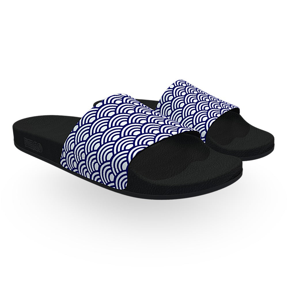 Navy Blue and White Wave Pattern Slide Sandals