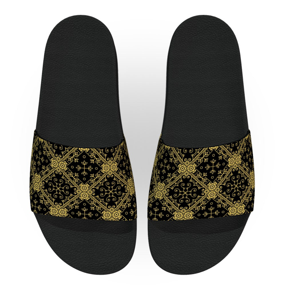 Intricate Black and Gold Pattern Slide Sandals