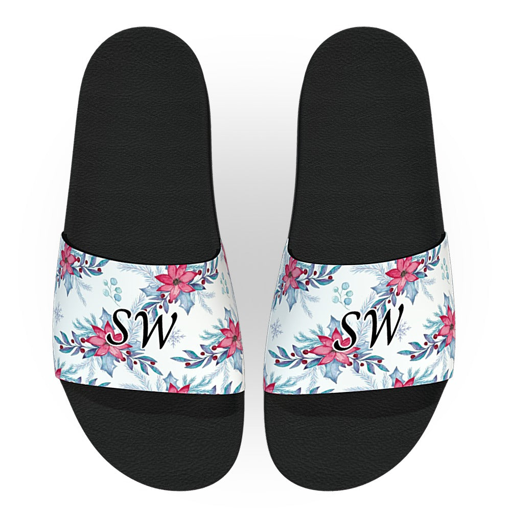 Monogrammed Christmas Holly and Poinsettia Slides