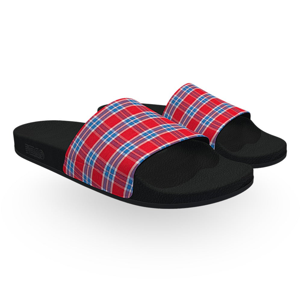 Light Blue and Red Tartan Flannel Slide Sandals