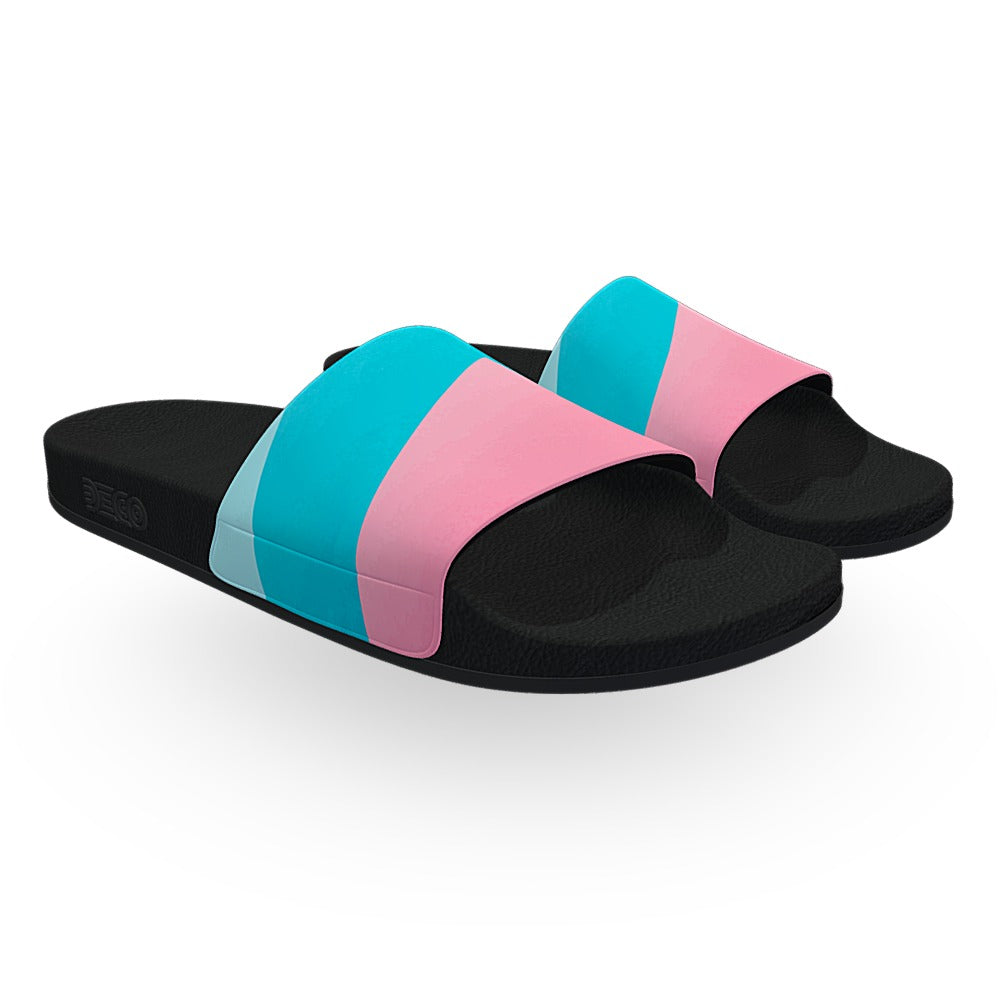 Blue Pink and Yellow Pastel Slide Sandals