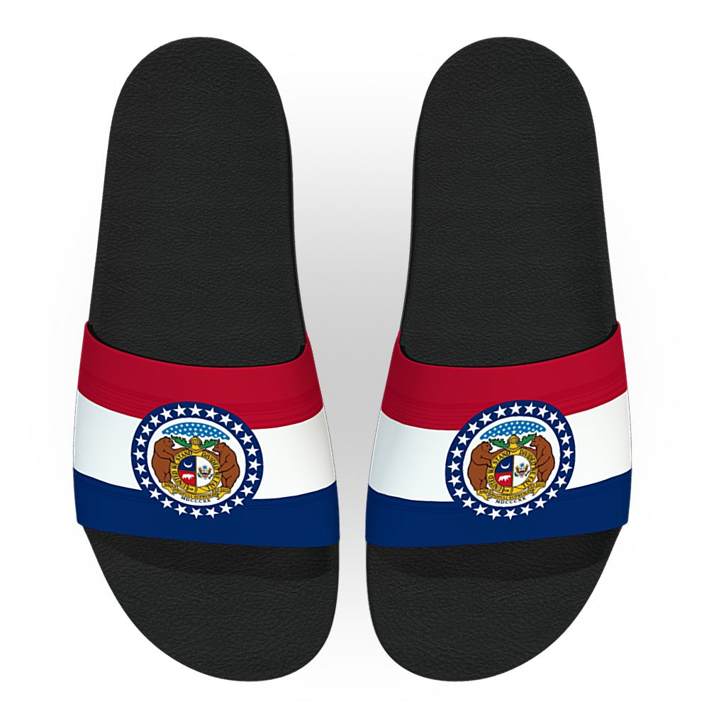 Missouri State Flag Slide Sandals