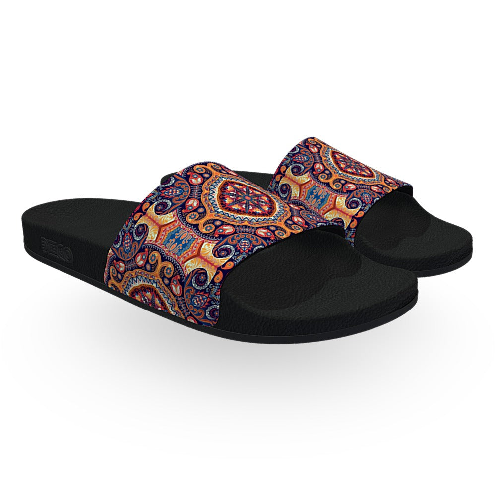 Ornate Persian Print Slide Sandals
