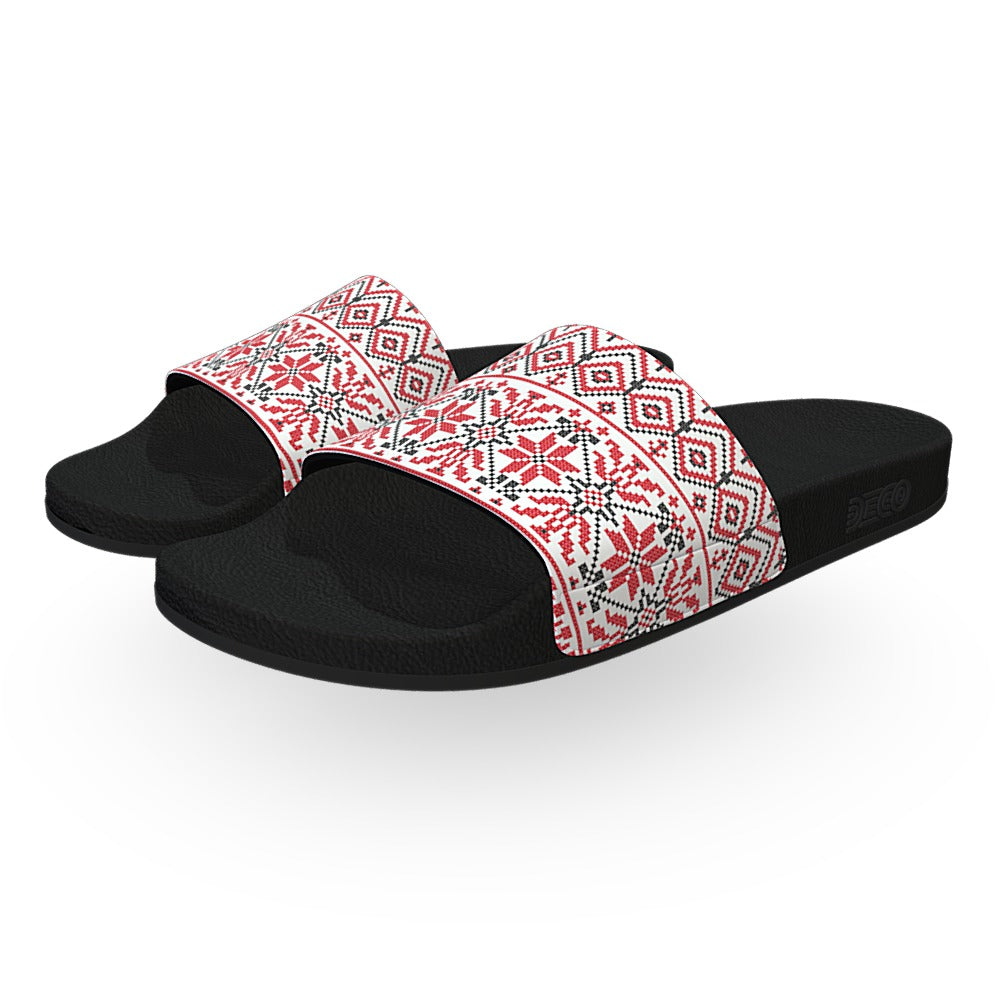 White Red and Black Snowflake Sweater Slide Sandals