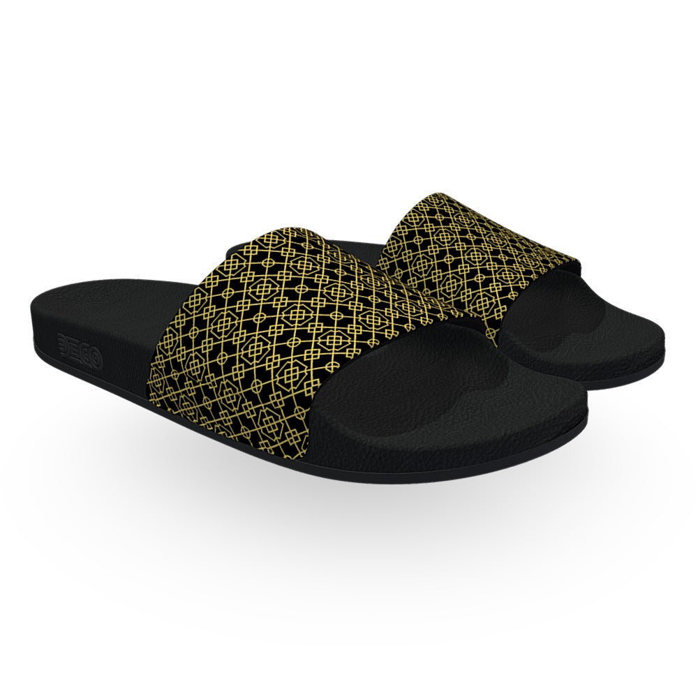Black and Gold Arabic Pattern Slide Sandals