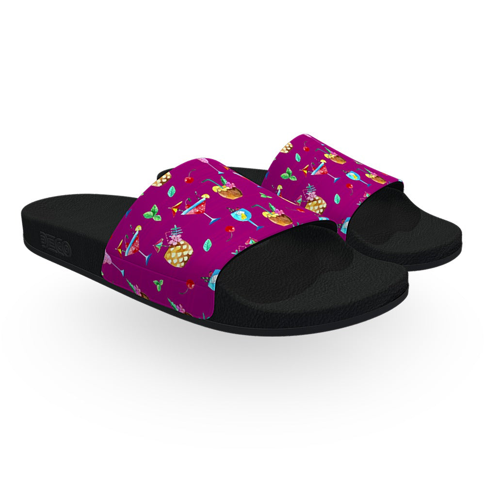 Purple Beach Cocktail Slide Sandals