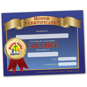 Clubber of the Month Certificate