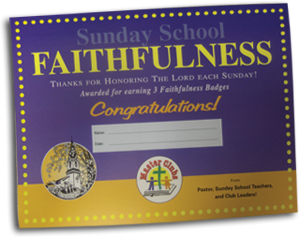 Sunday School Faithfulness Award Certificate