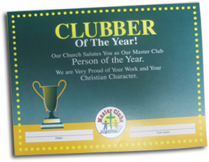 Clubber of the Year Award Certificate
