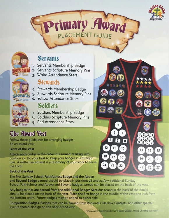 NEW Primary Award Placement Guide Sheet