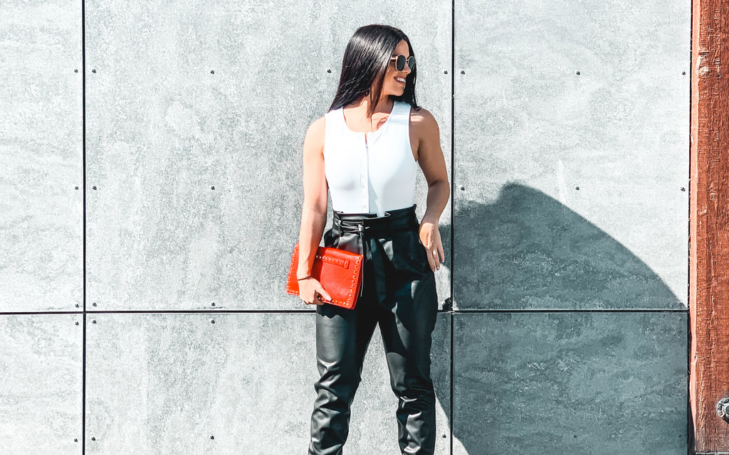 street style outfit leather pants