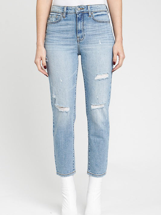 high rise relaxed crop jeans women