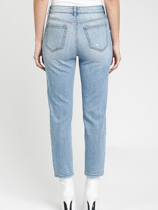 relaxed crop jeans with light fading women