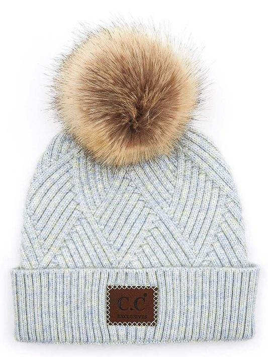CC Striped Beanie with Pom