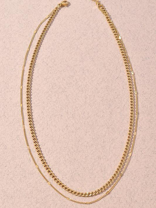 layered gold necklace with chain