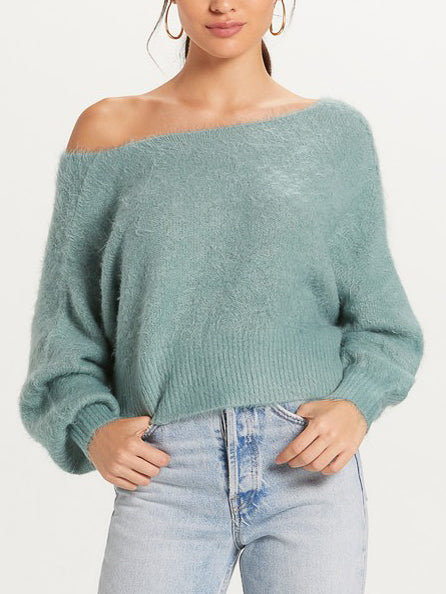 Fuzzy Off Shoulder Sweater