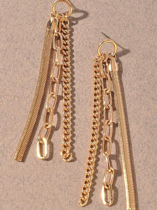 chain drop dangle earrings gold