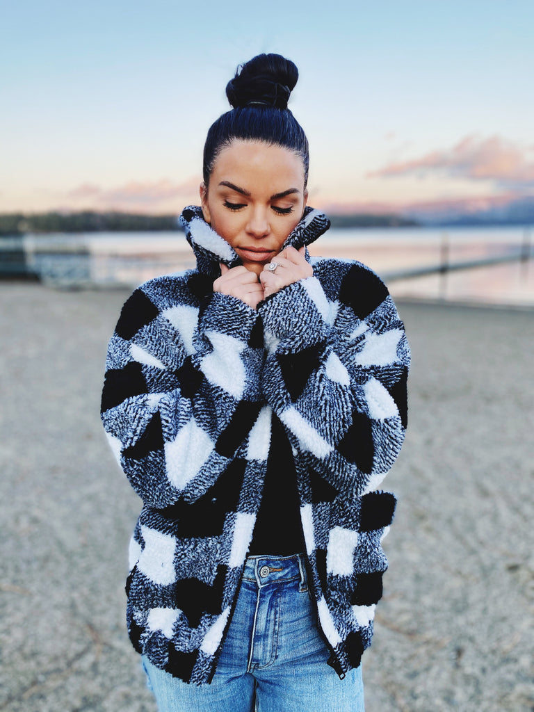black and white plaid jacket winter style