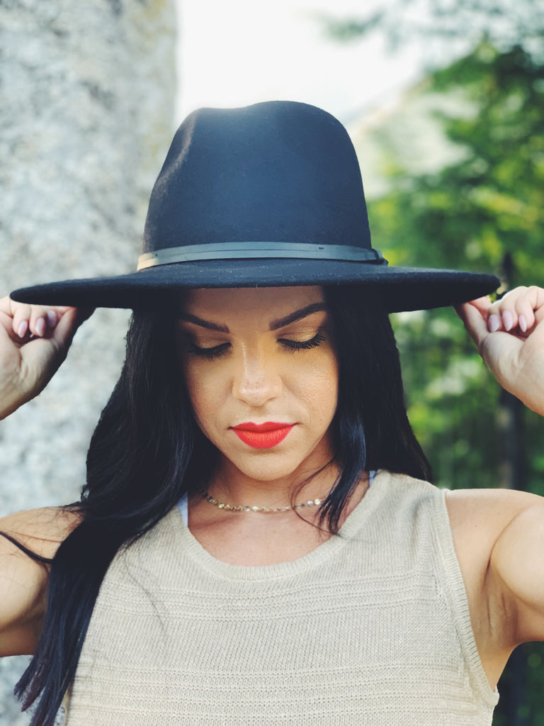 felt fedora hat black womens