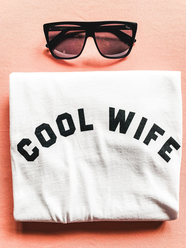 cool wife graphic tee white