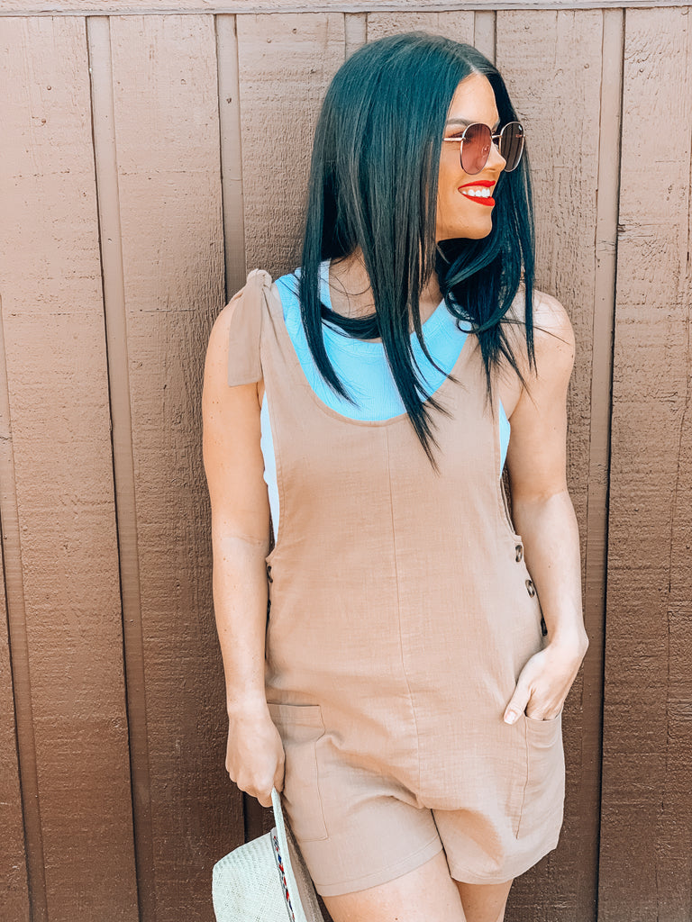lightweight linen romper with pockets