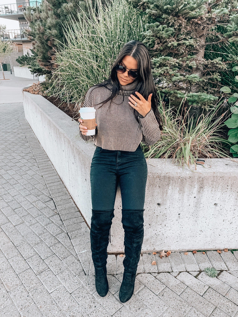 turtleneck cropped sweater fall outfit