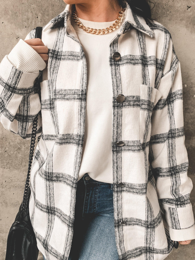 chunky necklace and flannel outfit
