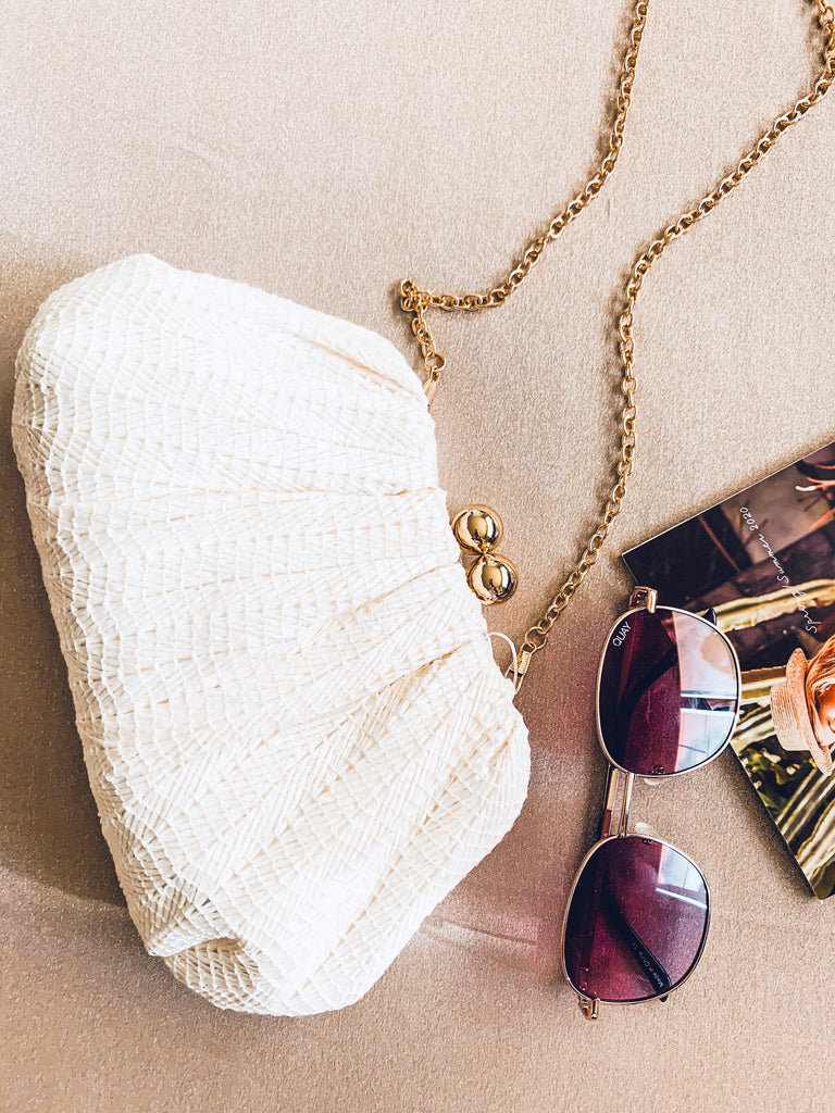 ivory and gold clutch with chain