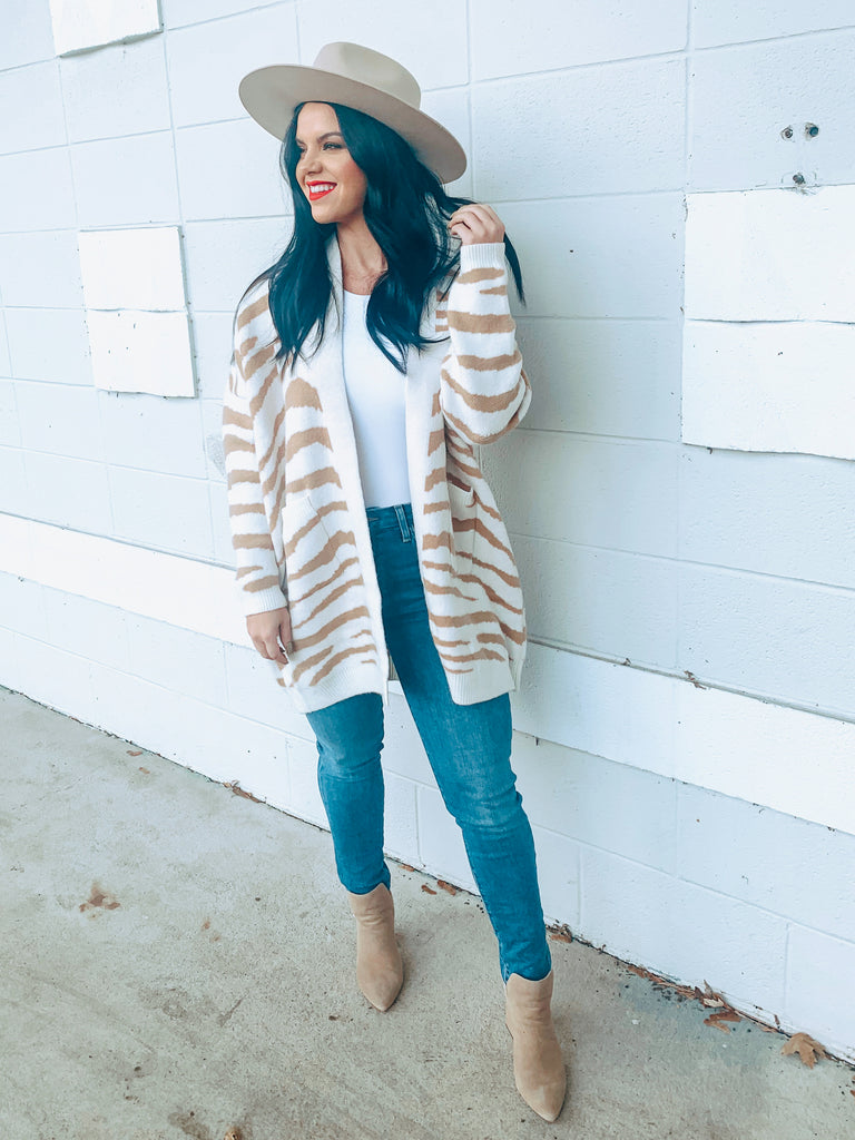 zebra print sweater long cardigan style
