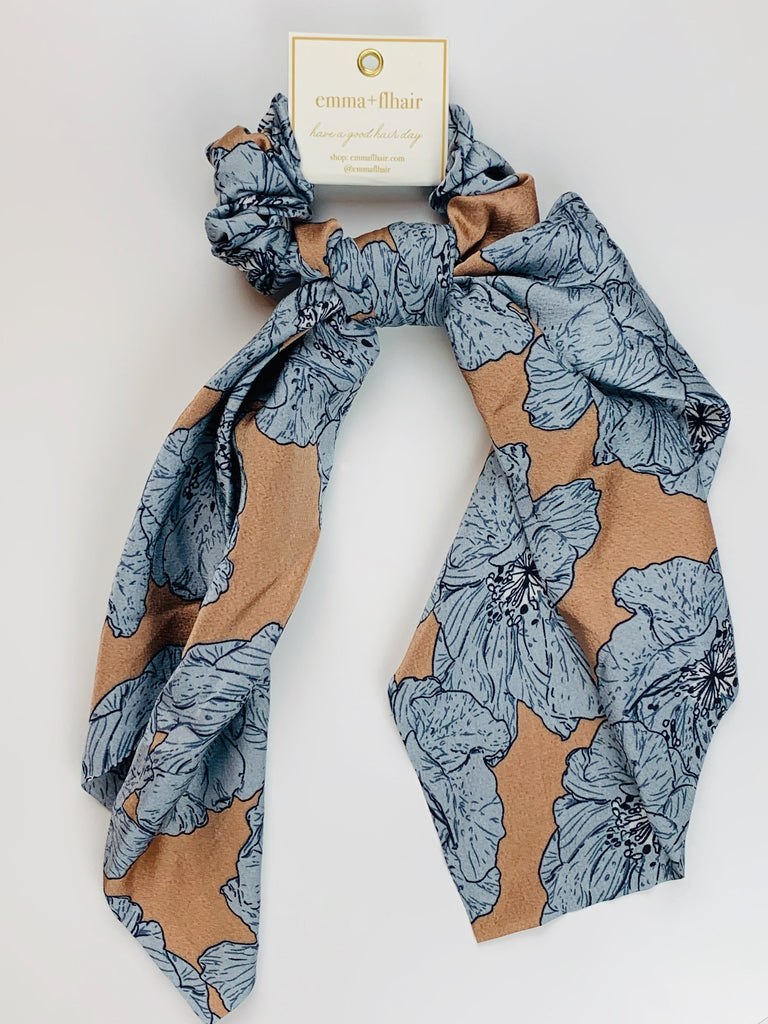 Tan and Blue Floral Scrunchie Scarf