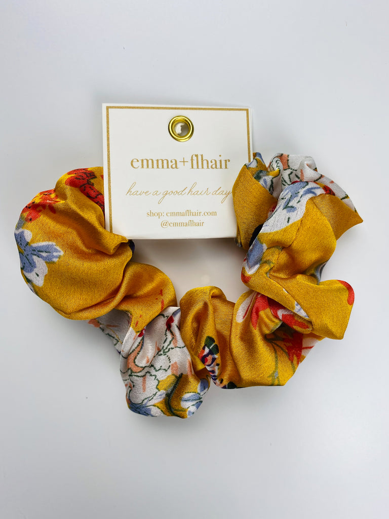 Flhair Yellow Floral Scrunchie