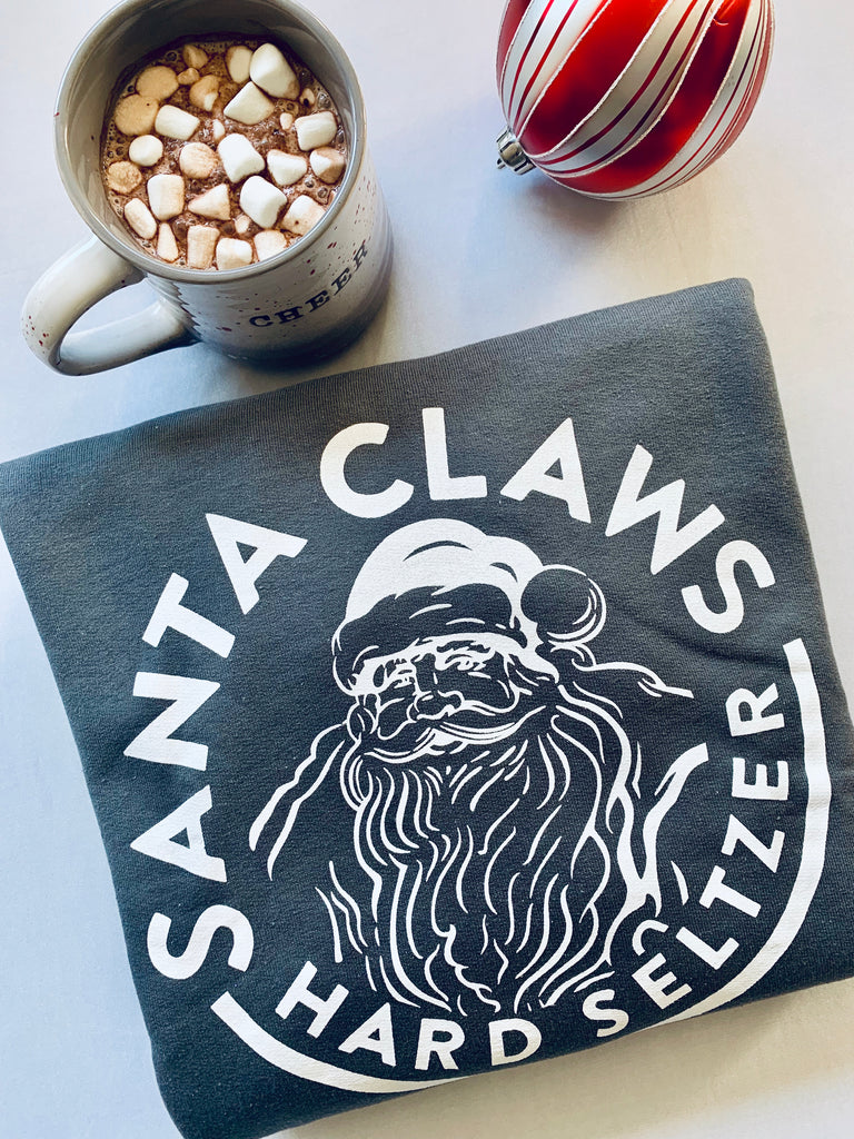 santa claws hard seltzer holiday sweatshirt womens