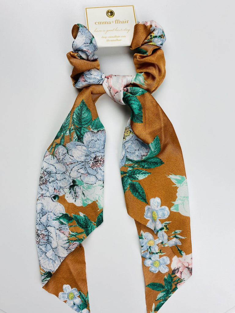 Flhair Camel & Turqouise Floral Scrunchie Scarf