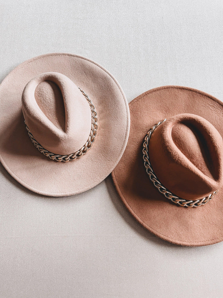 chunky chain fedora hats nude and tan