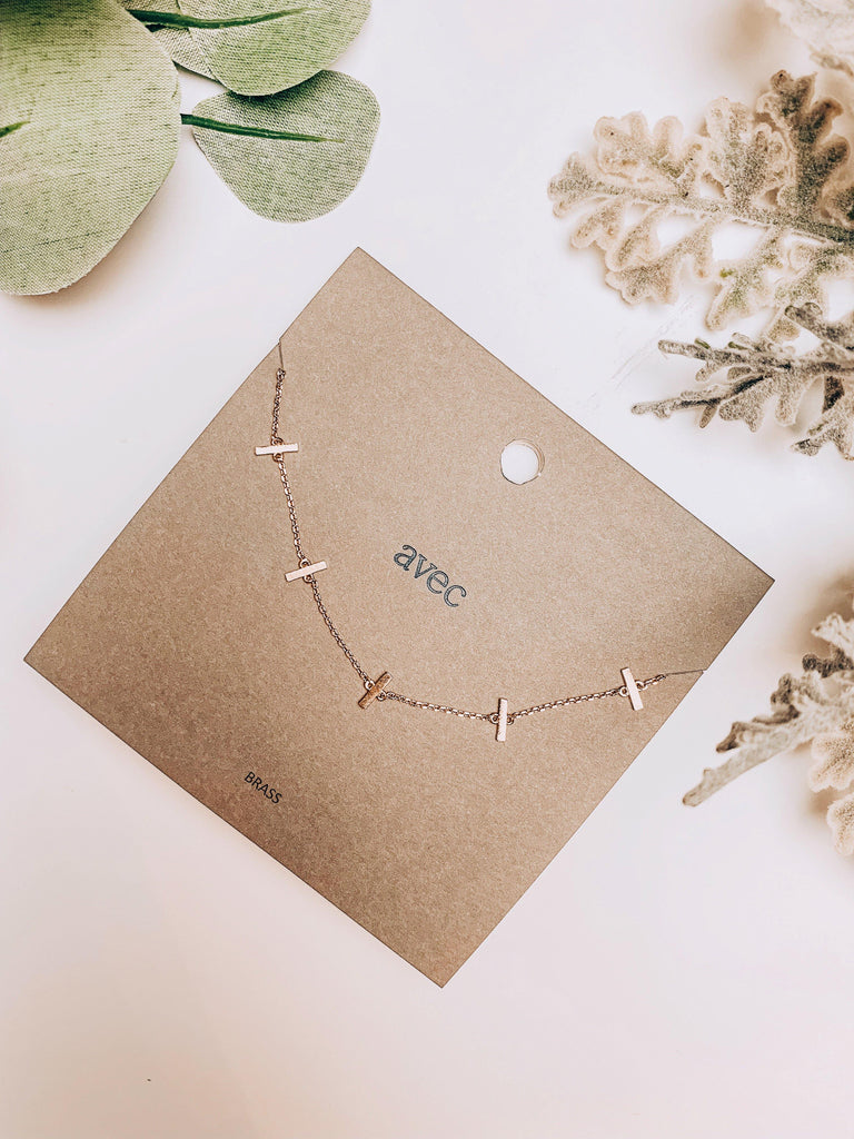 dainty gold necklace mini bar