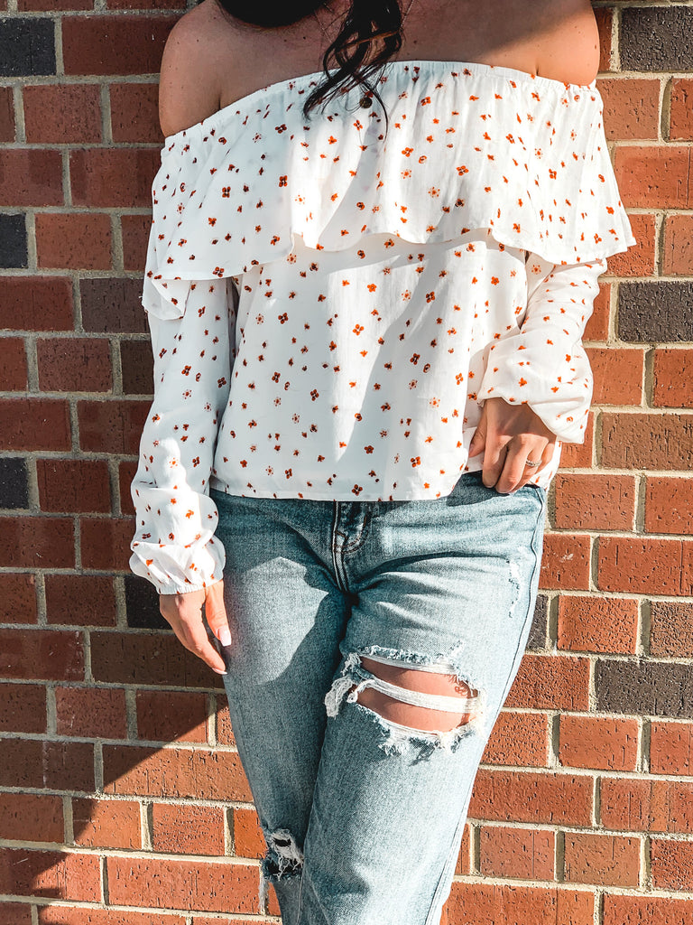 white off shoulder floral top