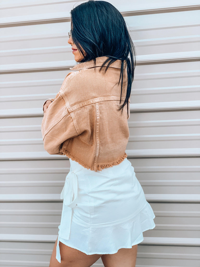 denim cropped jacket mustard