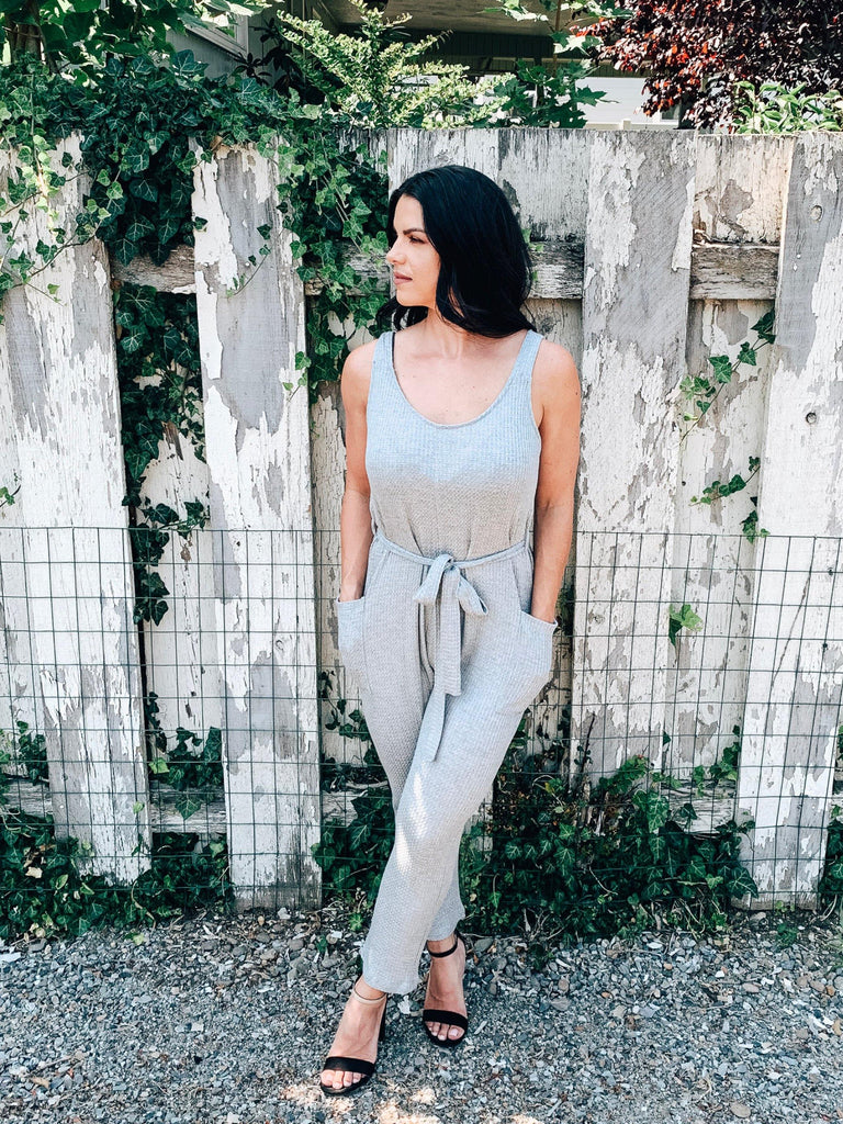 casual jumpsuit grey pockets