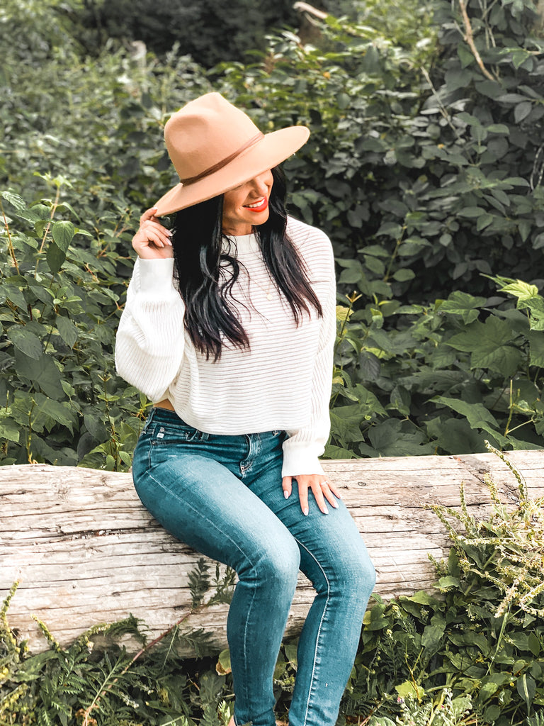 cropped white sweater boho outfit