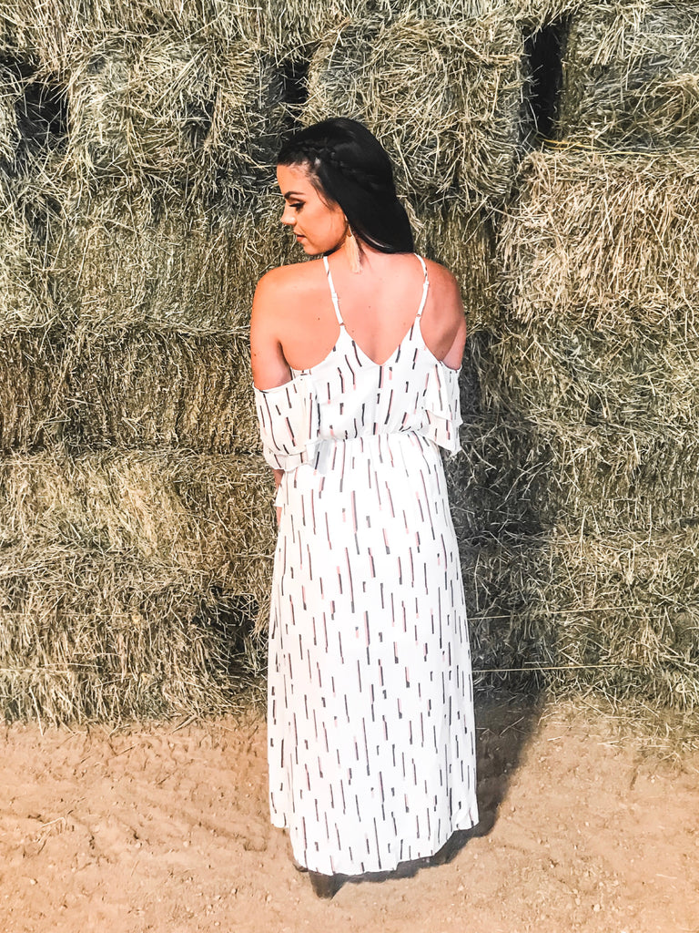 off shoulder white dress flow