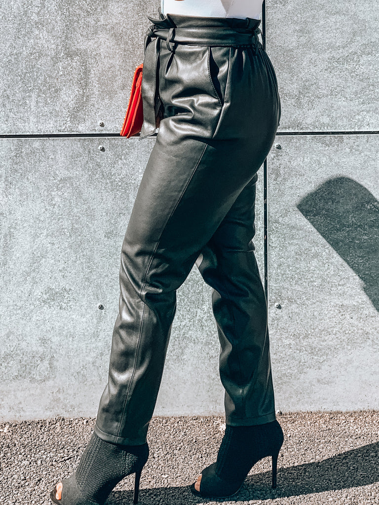 high waisted leather pants with waist tie