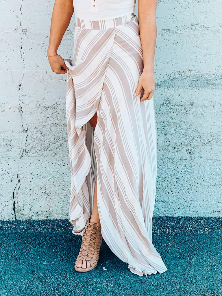 flowy striped maxi skirt with lining
