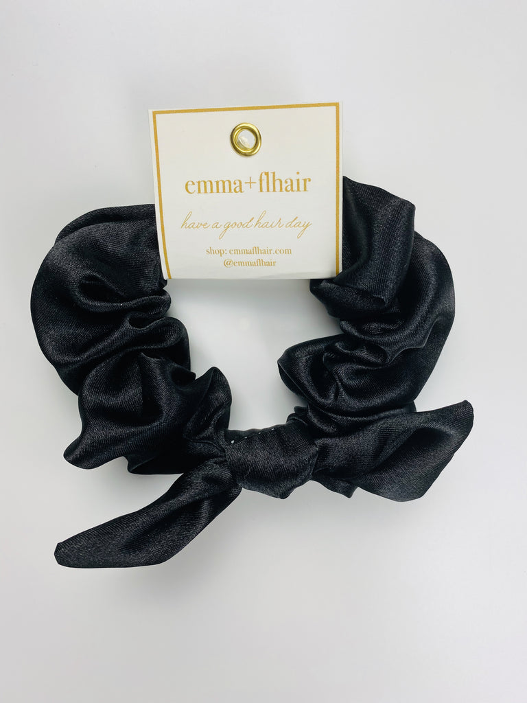 Flhair Black Satin Bow Scrunchie