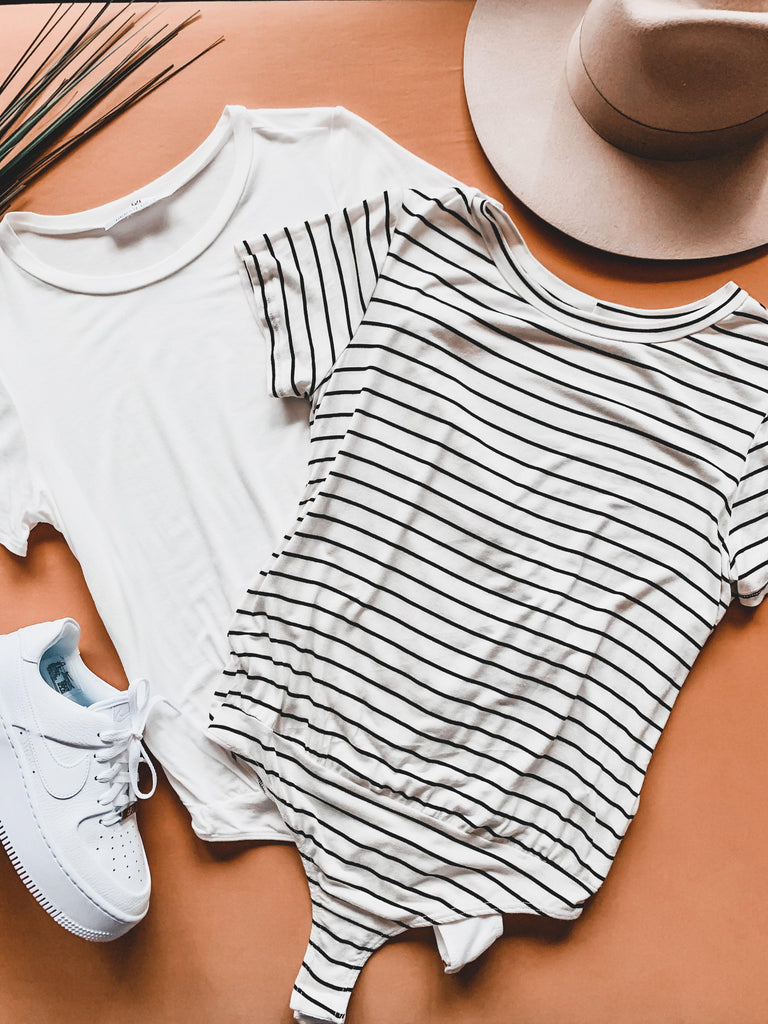 casual tee bodysuit striped ivory