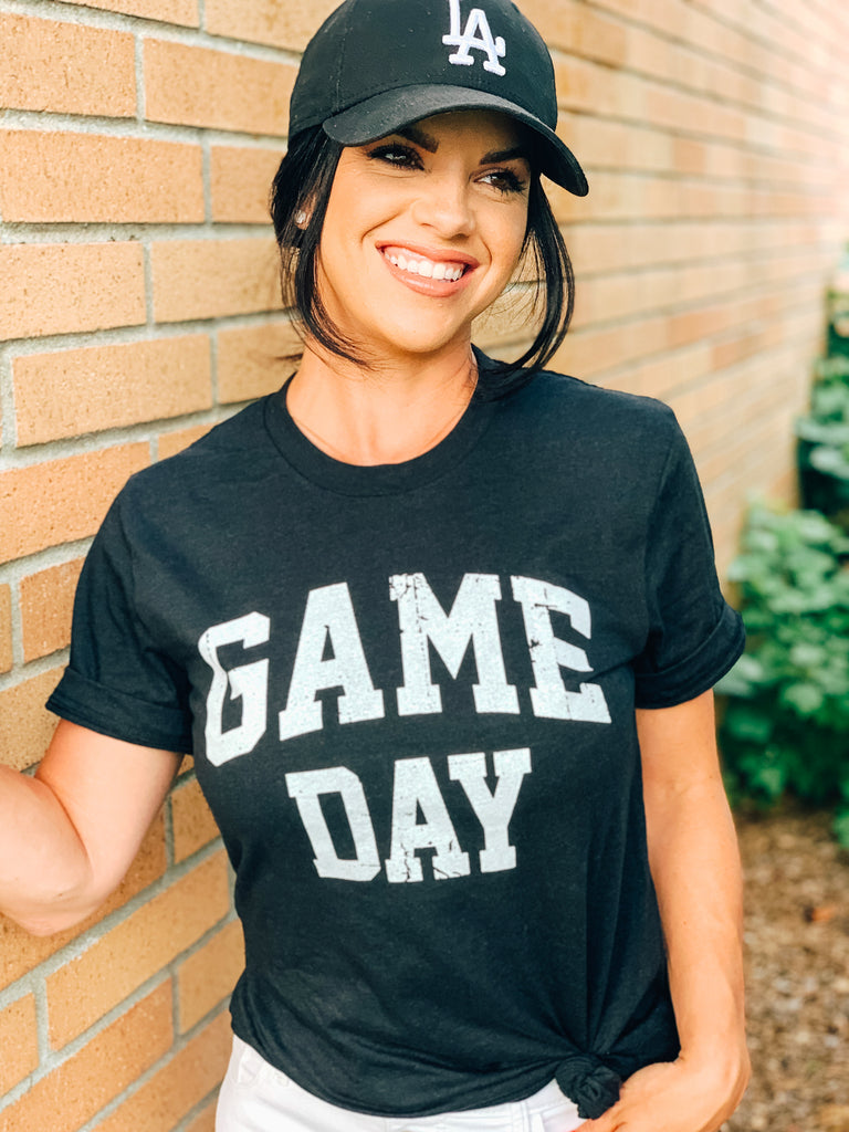 game day ladies outfit graphic tee