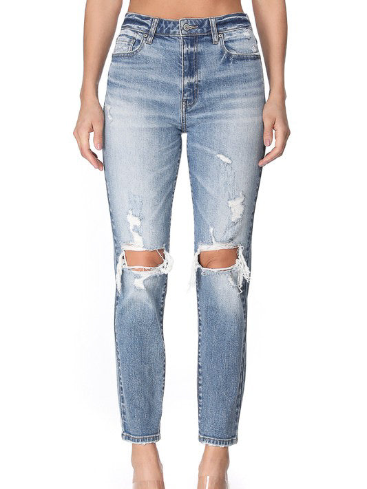 super high rise distressed mom jean