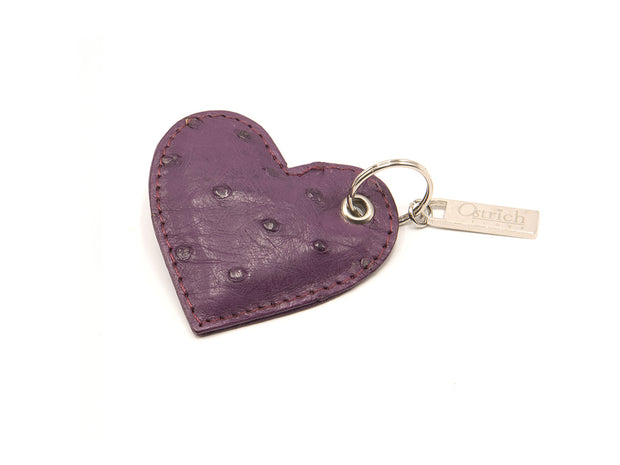 Ostrich Leather Heart Keyring